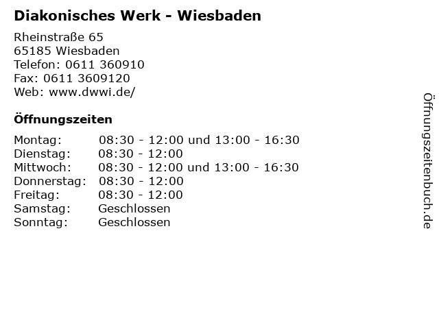 Diakonisches Werk - Wiesbaden in Wiesbaden: Adresse und Öffnungszeiten