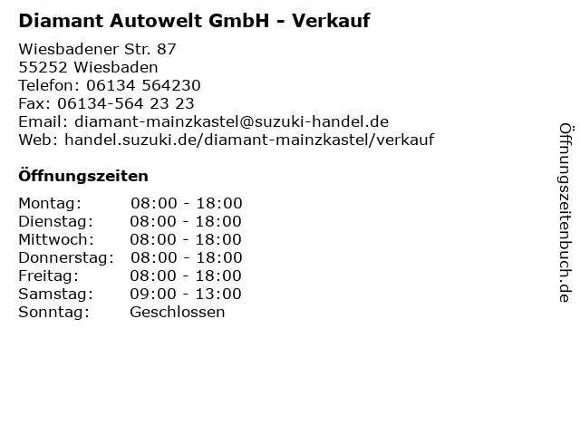 Diamant Autowelt GmbH - Verkauf in Wiesbaden: Adresse und Öffnungszeiten