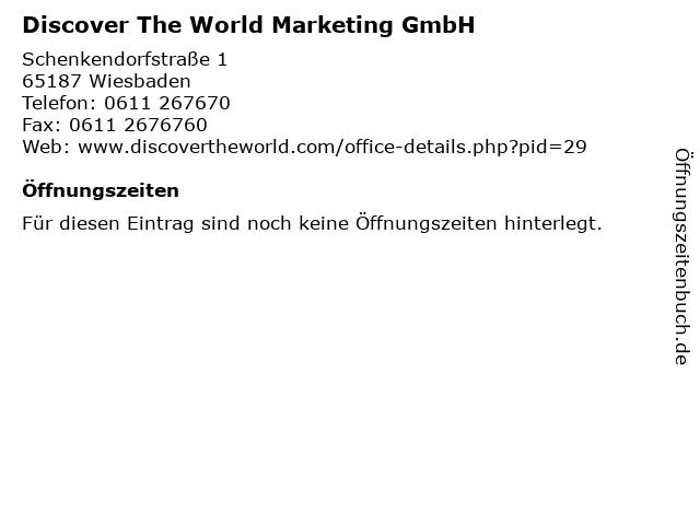 Discover The World Marketing GmbH in Wiesbaden: Adresse und Öffnungszeiten