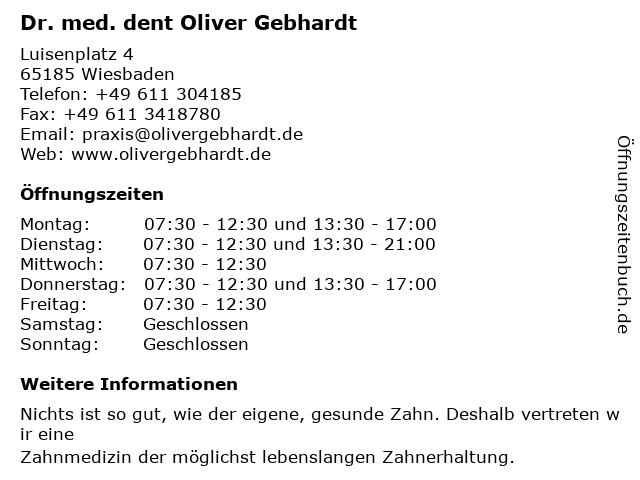 Dr. med. dent Oliver Gebhardt in Wiesbaden: Adresse und Öffnungszeiten