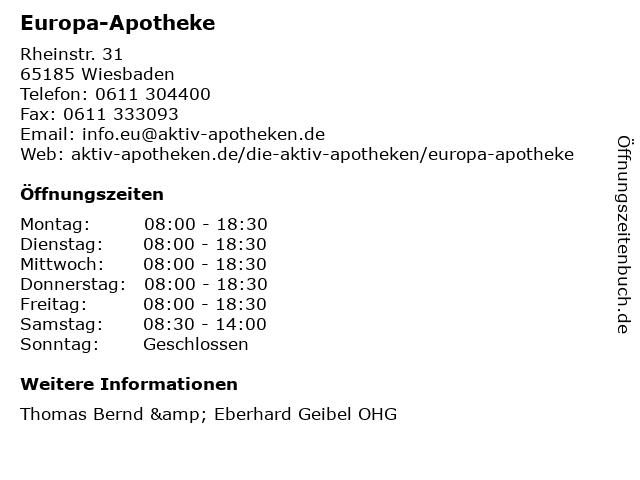 Europa-Apotheke in Wiesbaden: Adresse und Öffnungszeiten