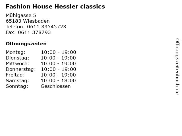 Fashion House Hessler classics in Wiesbaden: Adresse und Öffnungszeiten