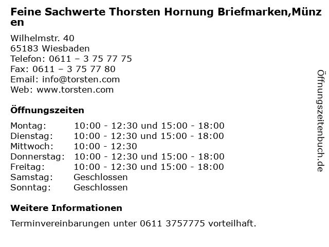 Feine Sachwerte Thorsten Hornung Briefmarken,Münzen in Wiesbaden: Adresse und Öffnungszeiten