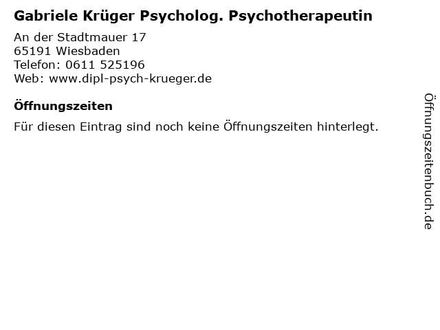 Gabriele Krüger Psycholog. Psychotherapeutin in Wiesbaden: Adresse und Öffnungszeiten
