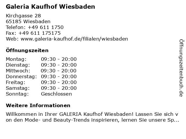 Galeria Kaufhof Wiesbaden in Wiesbaden: Adresse und Öffnungszeiten