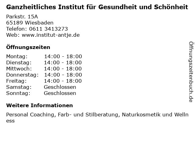 Ganzheitliches Institut für Gesundheit und Schönheit in Wiesbaden: Adresse und Öffnungszeiten