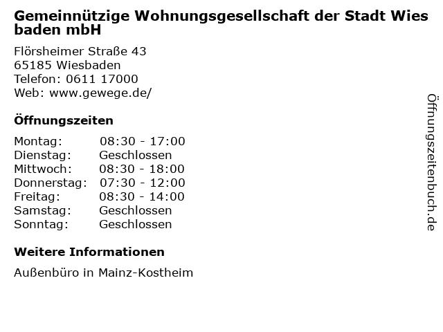 Gemeinnützige Wohnungsgesellschaft der Stadt Wiesbaden mbH in Wiesbaden: Adresse und Öffnungszeiten