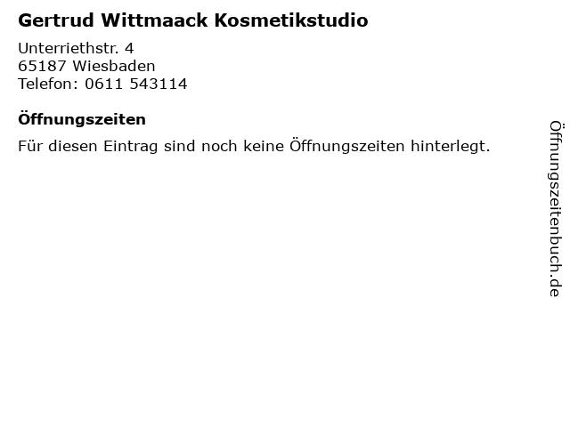 Gertrud Wittmaack Kosmetikstudio in Wiesbaden: Adresse und Öffnungszeiten