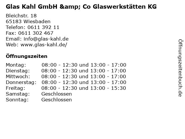 Glas Kahl GmbH & Co Glaswerkstätten KG in Wiesbaden: Adresse und Öffnungszeiten
