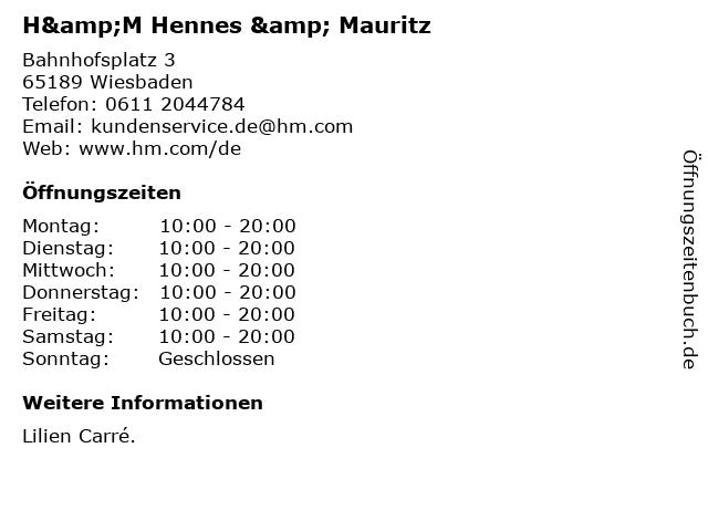 H&M Hennes & Mauritz in Wiesbaden: Adresse und Öffnungszeiten