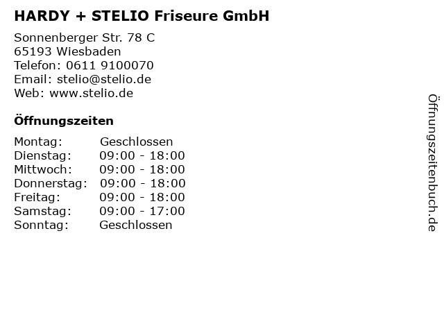 HARDY + STELIO Friseure GmbH in Wiesbaden: Adresse und Öffnungszeiten