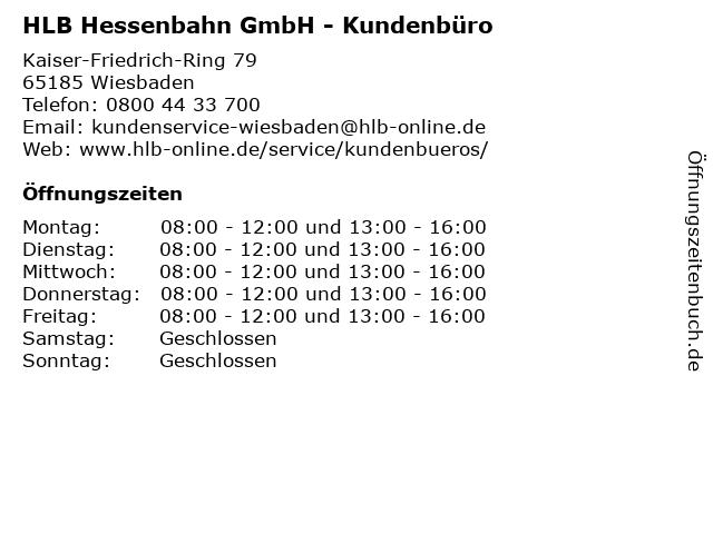 HLB Hessenbahn GmbH - Kundenbüro in Wiesbaden: Adresse und Öffnungszeiten