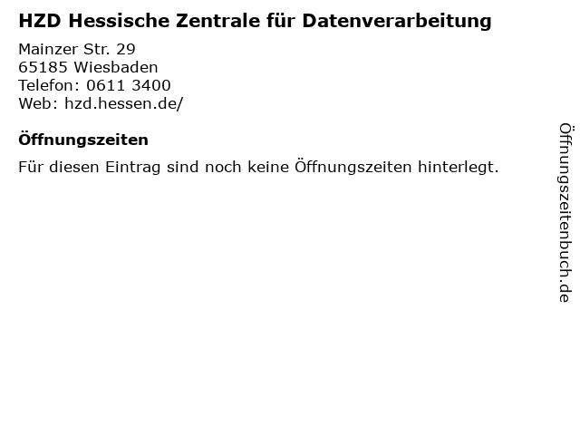 HZD Hessische Zentrale für Datenverarbeitung in Wiesbaden: Adresse und Öffnungszeiten