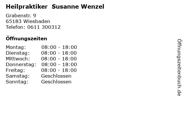 Heilpraktiker  Susanne Wenzel in Wiesbaden: Adresse und Öffnungszeiten