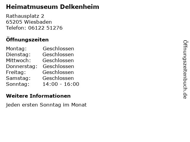 Heimatmuseum Delkenheim in Wiesbaden: Adresse und Öffnungszeiten