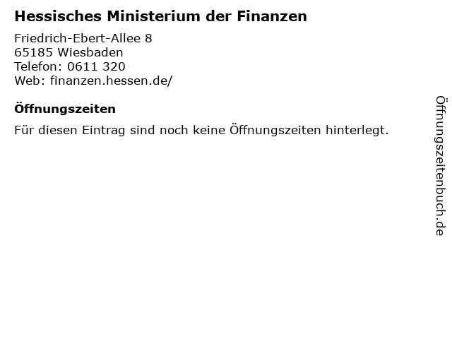Hessisches Ministerium der Finanzen in Wiesbaden: Adresse und Öffnungszeiten