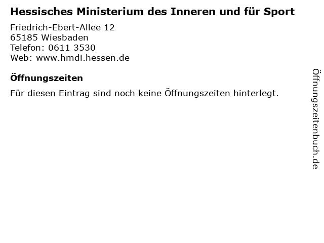 Hessisches Ministerium des Inneren und für Sport in Wiesbaden: Adresse und Öffnungszeiten