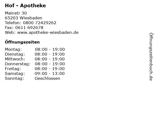 Hof - Apotheke in Wiesbaden: Adresse und Öffnungszeiten