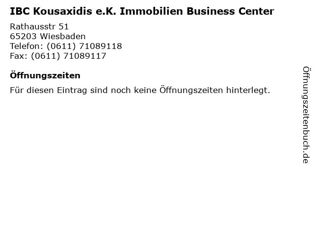 IBC Kousaxidis e.K. Immobilien Business Center in Wiesbaden: Adresse und Öffnungszeiten