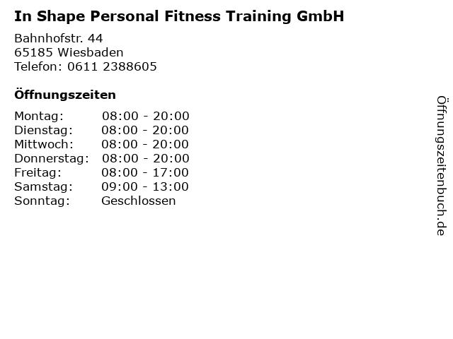 In Shape Personal Fitness Training GmbH in Wiesbaden: Adresse und Öffnungszeiten