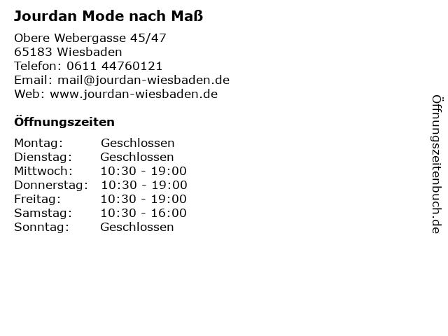 Jourdan Mode nach Maß in Wiesbaden: Adresse und Öffnungszeiten