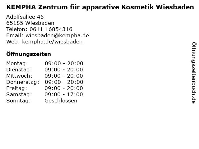 KEMPHA Zentrum für apparative Kosmetik Wiesbaden in Wiesbaden: Adresse und Öffnungszeiten
