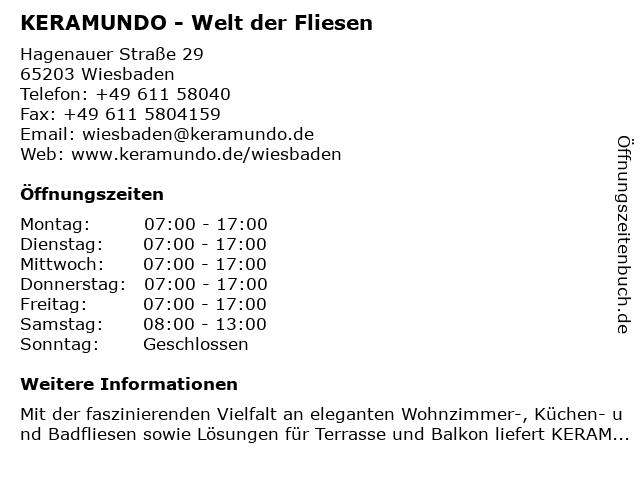 ᐅ öffnungszeiten Keramundo Welt Der Fliesen Hagenauer Straße
