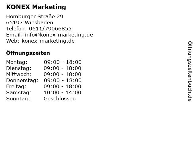 KONEX Marketing in Wiesbaden: Adresse und Öffnungszeiten