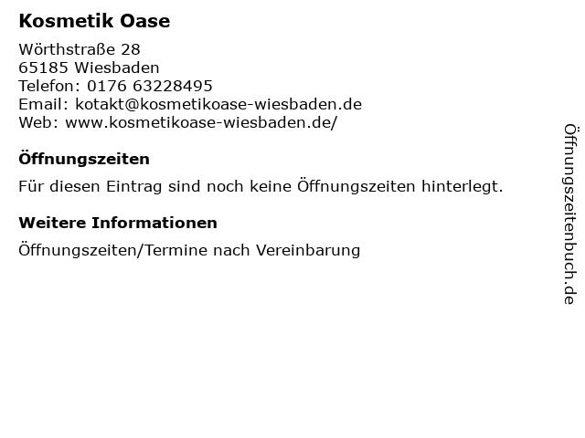 Kosmetik Oase in Wiesbaden: Adresse und Öffnungszeiten