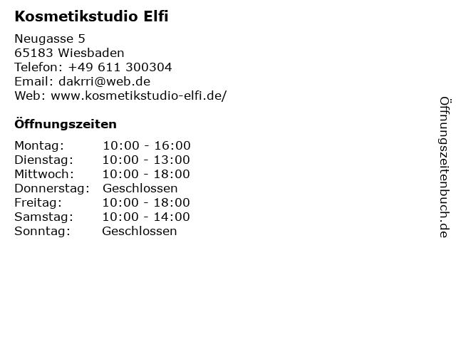 Kosmetikstudio Elfi in Wiesbaden: Adresse und Öffnungszeiten