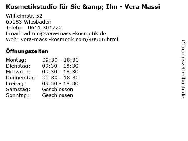 Kosmetikstudio für Sie & Ihn - Vera Massi in Wiesbaden: Adresse und Öffnungszeiten