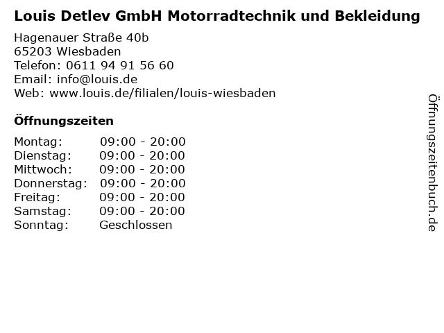 Louis Detlev GmbH Motorradtechnik und Bekleidung in Wiesbaden: Adresse und Öffnungszeiten