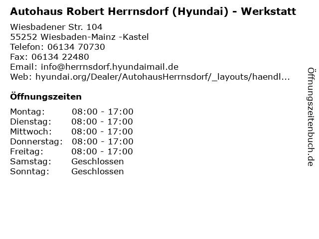 Autohaus Robert Herrnsdorf (Hyundai) - Werkstatt in Wiesbaden-Mainz -Kastel: Adresse und Öffnungszeiten