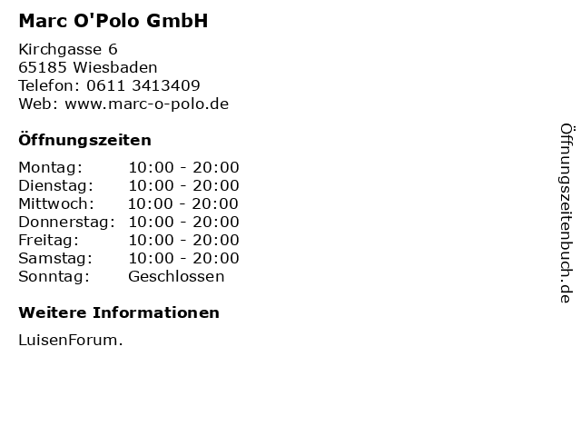 Marc O'Polo GmbH in Wiesbaden: Adresse und Öffnungszeiten