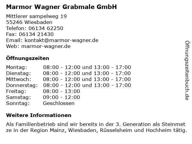 Marmor Wagner Grabmale GmbH in Wiesbaden: Adresse und Öffnungszeiten