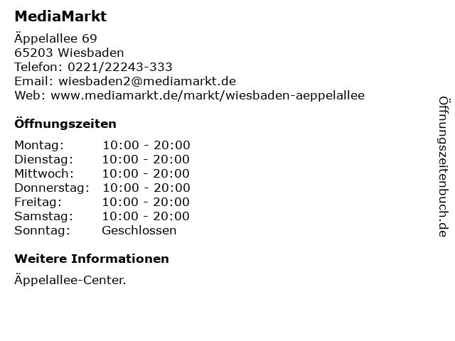 Media Markt TV-Hifi-Elektro GmbH in Wiesbaden: Adresse und Öffnungszeiten
