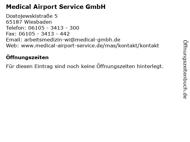 Medical Airport Service GmbH in Wiesbaden: Adresse und Öffnungszeiten