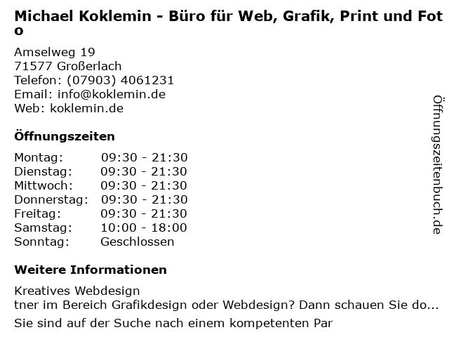 Michael Koklemin - Büro für Web, Grafik, Print und Foto in Wiesbaden: Adresse und Öffnungszeiten