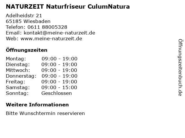 NATURZEIT Naturfriseur CulumNatura in Wiesbaden: Adresse und Öffnungszeiten