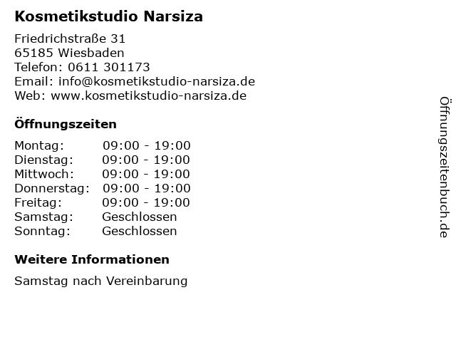Narzissa Kosmetikstudio in Wiesbaden: Adresse und Öffnungszeiten