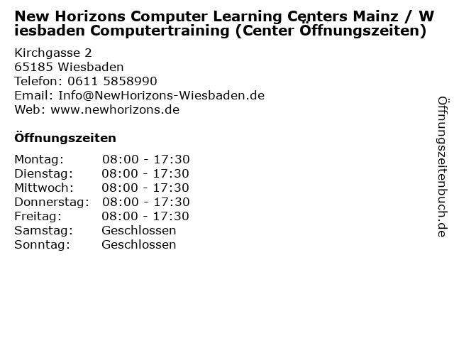 New Horizons Computer Learning Centers Mainz / Wiesbaden Computertraining (Center Öffnungszeiten) in Wiesbaden: Adresse und Öffnungszeiten