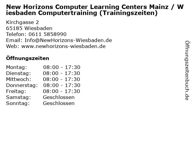 New Horizons Computer Learning Centers Mainz / Wiesbaden Computertraining (Trainingszeiten) in Wiesbaden: Adresse und Öffnungszeiten