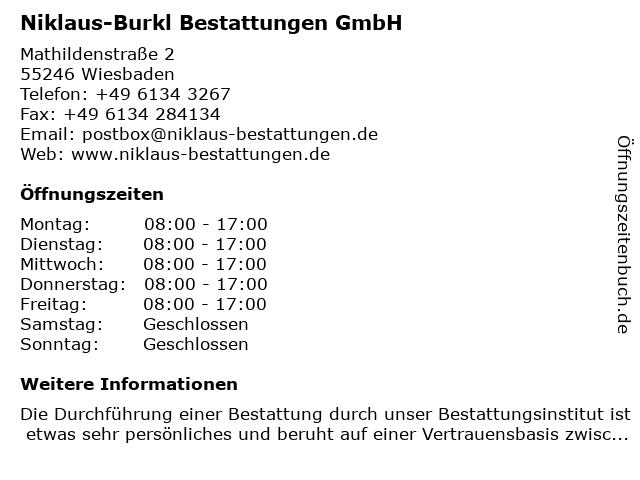 Niklaus-Burkl Bestattungen GmbH in Wiesbaden: Adresse und Öffnungszeiten