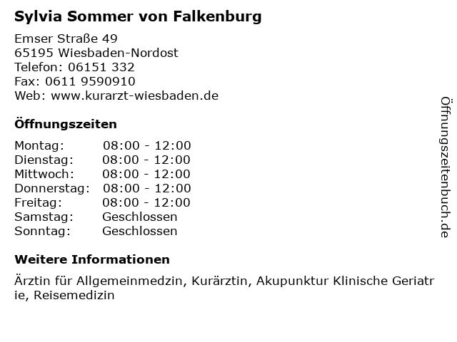 Sylvia Sommer von Falkenburg in Wiesbaden-Nordost: Adresse und Öffnungszeiten