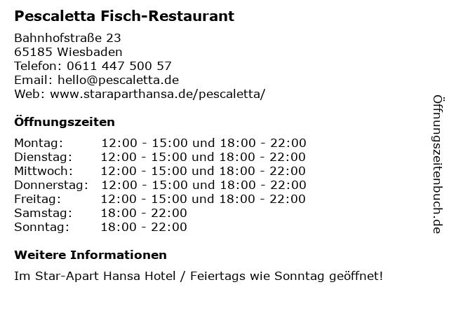 Pescaletta Fisch & Pasta in Wiesbaden: Adresse und Öffnungszeiten
