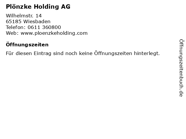 Plönzke Holding AG in Wiesbaden: Adresse und Öffnungszeiten