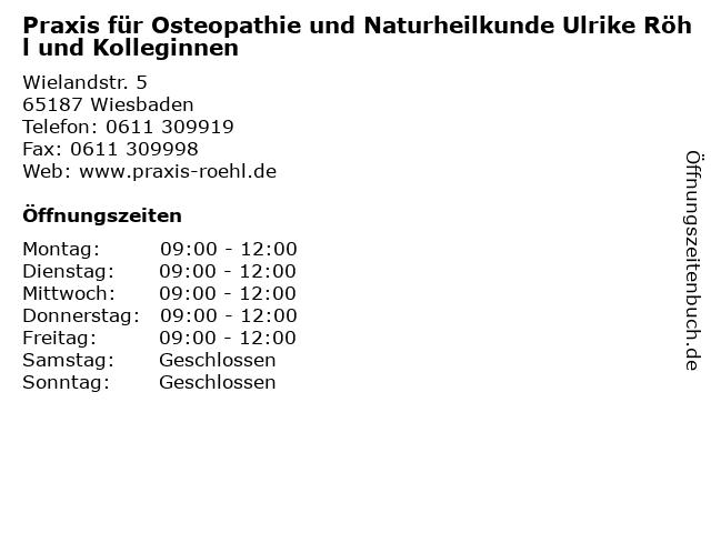 Praxis für Osteopathie und Naturheilkunde Ulrike Röhl und Kolleginnen in Wiesbaden: Adresse und Öffnungszeiten
