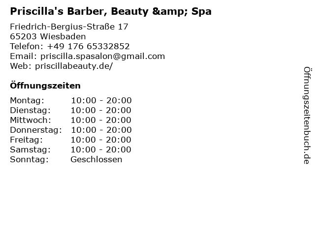 Priscilla's Barber, Beauty & Spa in Wiesbaden: Adresse und Öffnungszeiten