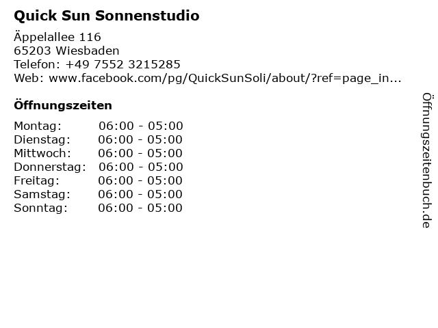 Quick Sun Sonnenstudio in Wiesbaden: Adresse und Öffnungszeiten