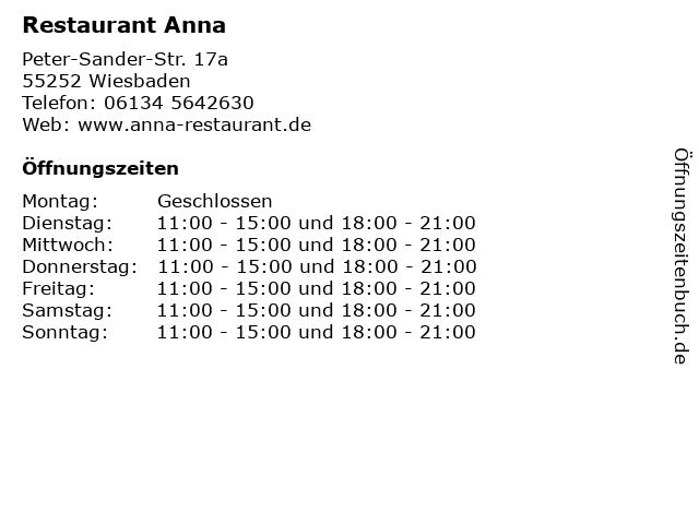 Restaurant Anna in Wiesbaden: Adresse und Öffnungszeiten